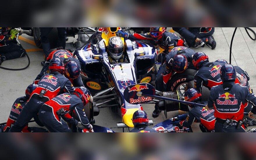 Technikai aptarnauja S.Vettelio bolidą