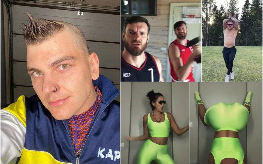 Rolandas Mackevičius ir jo vaizdo klipe įsiamžinusios garsenybės / Foto: Instagram, stopkadrai