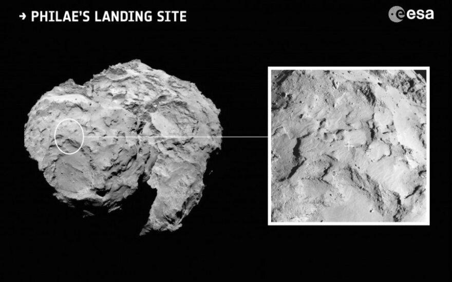 """""""Philae"""" zondo nusileidimo Čuriumovo-Gerasimenko kometoje vieta"""