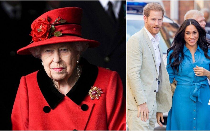 Karalienė Elizabeth II, princas Harry ir Meghan Markle