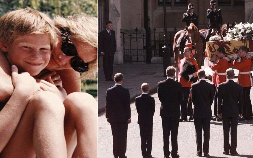 Princesė Diana su sūnumi Harry, princesės Dianos laidotuvės