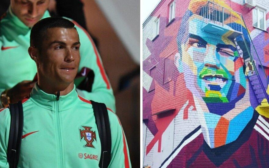Cristiano Ronaldo ir jo grafitis Kazanėje