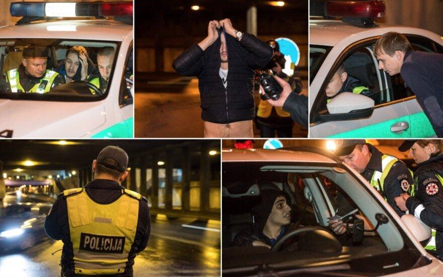 Per porą nakties valandų Vilniuje būrys jaunų vyrų neteko vairuotojo pažymėjimų