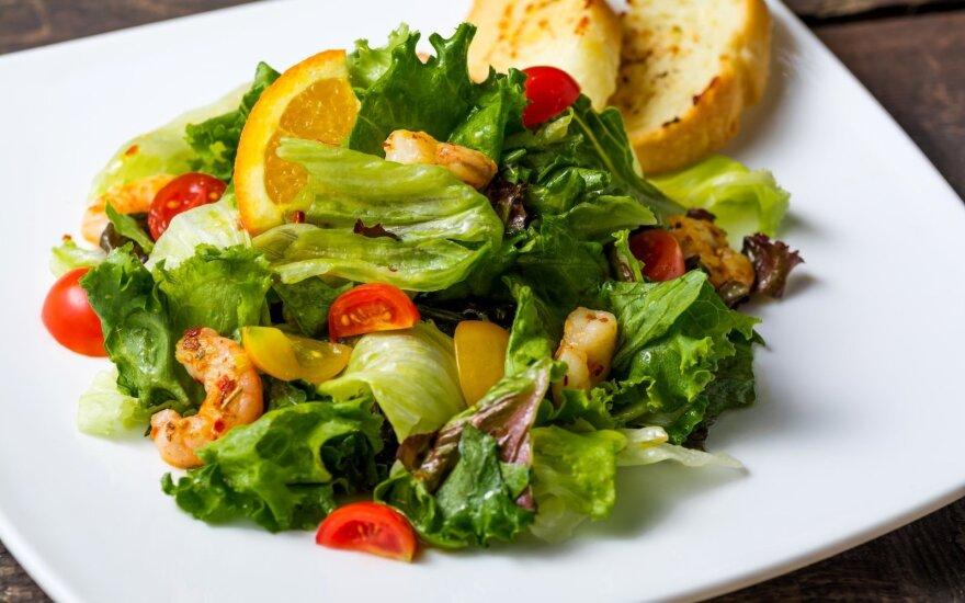 Greitos ir sveikos salotos su krevetėmis