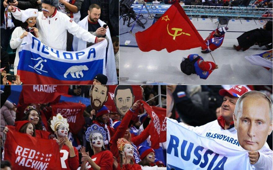 Rusai nepasiduoda: tribūnose – ir Putino atvaizdai, ir SSRS vėliavos, ir šūkiai iš širdies