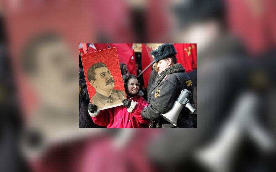 Rusija, Maskva, komunistai, Stalino portretas