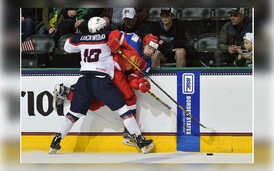 Ledo ritulys: JAV (U18) - Rusija (U18) (IIHF nuotr.)