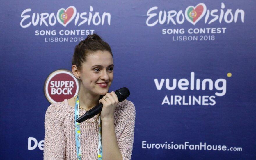 Ieva Zasimauskaitė spaudos konferencijoje / FOTO: V. Nevieros
