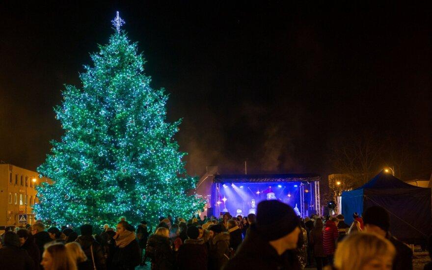 Kalėdų eglutės įžiebimas Rokiškyje