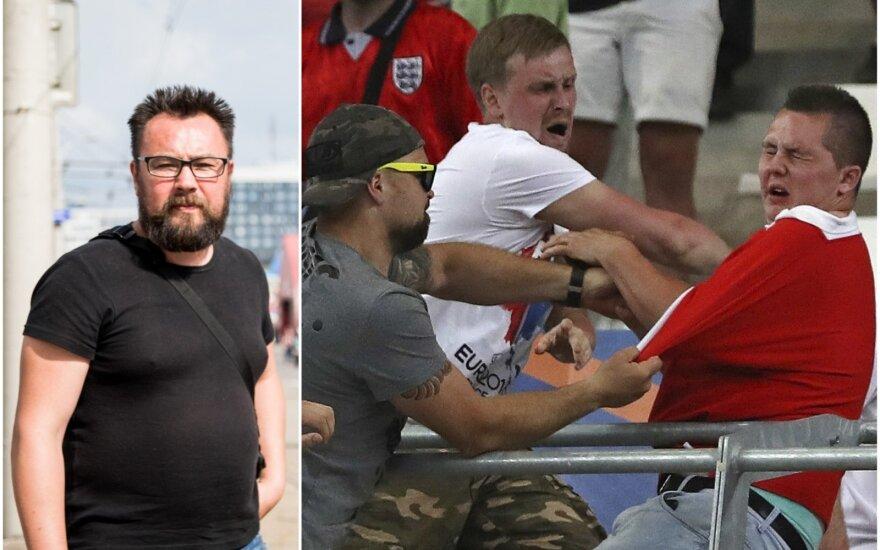 Rusijos futbolo sirgalių lyderis Aleksandras mano, kad muštynių su anglais daugiau nebebus