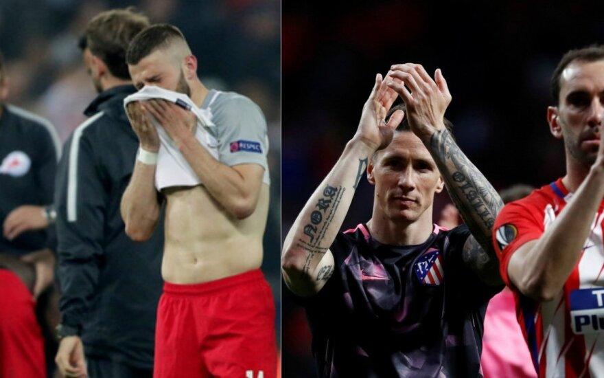 """Liūdintys """"Salzburg"""" ir į kitą etapą patekę """"Atletico"""" žaidėjai"""