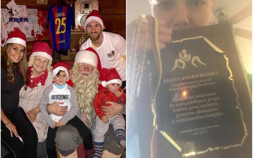Leo Messi su šeima ir Kalėdų seniu, Rose Namajunas