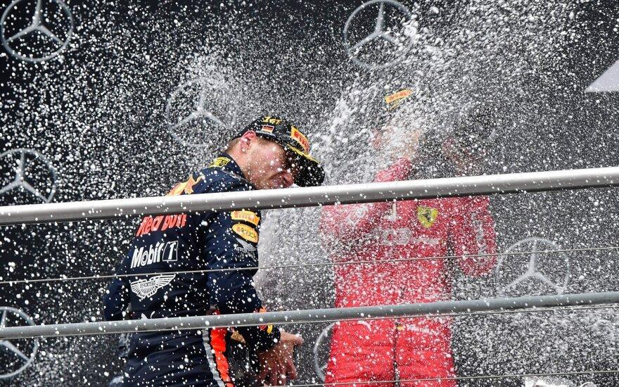 Lietus pasėjo chaosą F-1 etape: avarijos, lyderių fiasko, Vettelio šuolis ir Verstappeno pergalė
