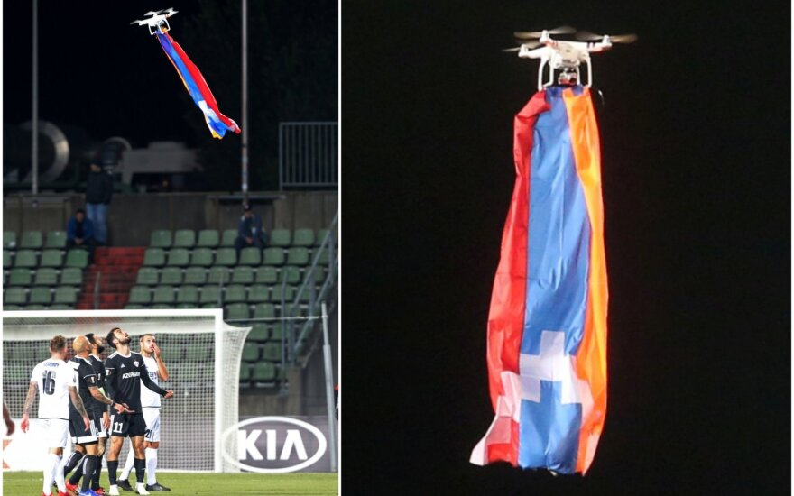 """Rungtynes tarp """"Dudelange"""" ir """"Qarabag"""" sustabdė dronas su Kalnų Karabacho vėliava"""
