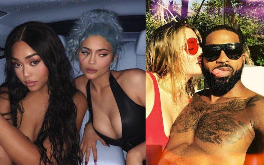 Jordyn Woods, Kylie Jenner, Khloe Kardashian ir Tristanas Thompsonas