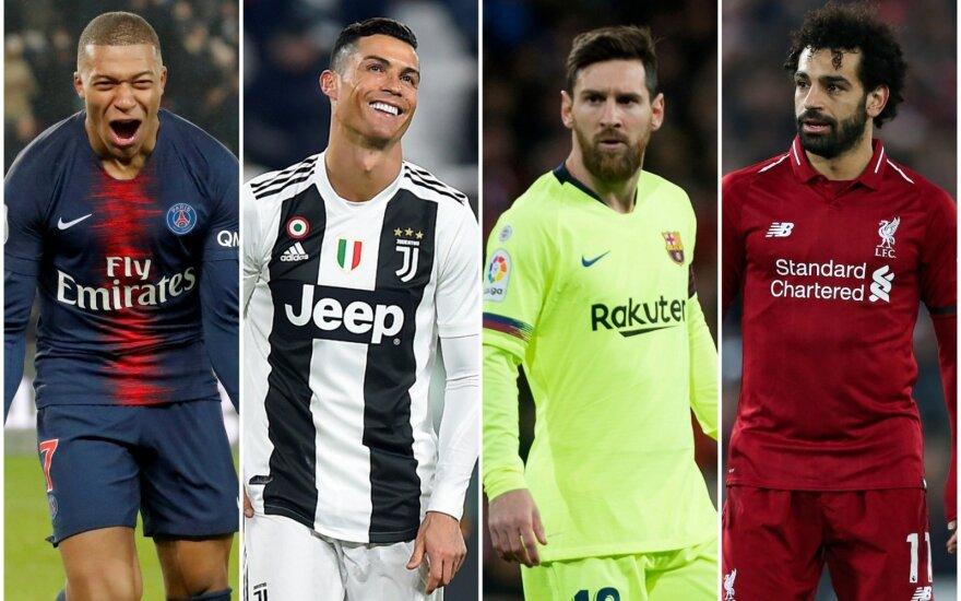 Kylianas Mbappe, Cristiano Ronaldo, Lionelis Messi, Mohamedas Salahas
