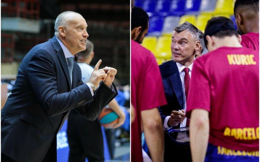 """Rimas Kurtinaitis (kairėje), Šarūnas Jasikevičius (Foto: vtb-league.com, """"Barcelona"""")"""