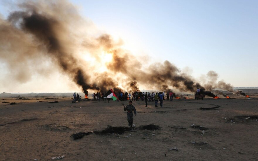 Gazoje Izraelio bepilotis lėktuvas sunaikinto padegamųjų balionų gamintojų palapinę