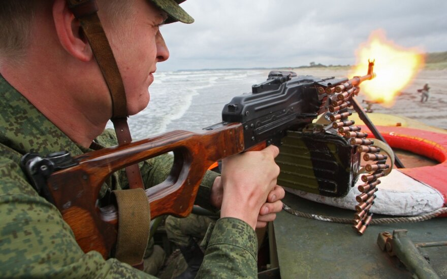 Russian soldiers train in Kaliningrad region
