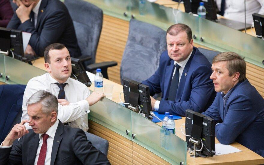 Povilas Urbšys, Virginijus Sinkevičius, Saulius Skvernelis ir Ramūnas Karbauskis