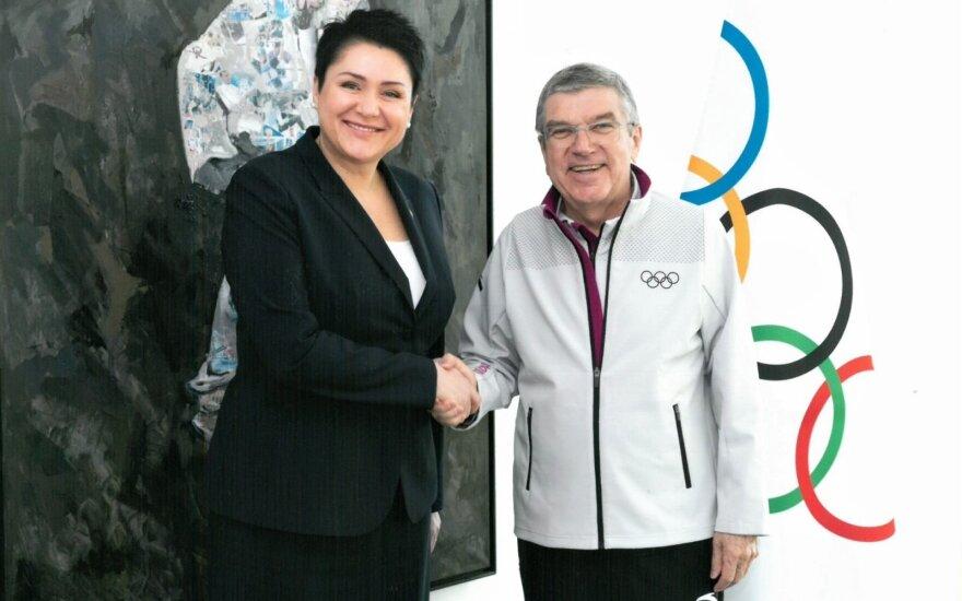 D. Gudzinevičiūtė su TOK prezidentu Thomasu Bachu / FOTO: Tarptautinis olimpinis komitetas