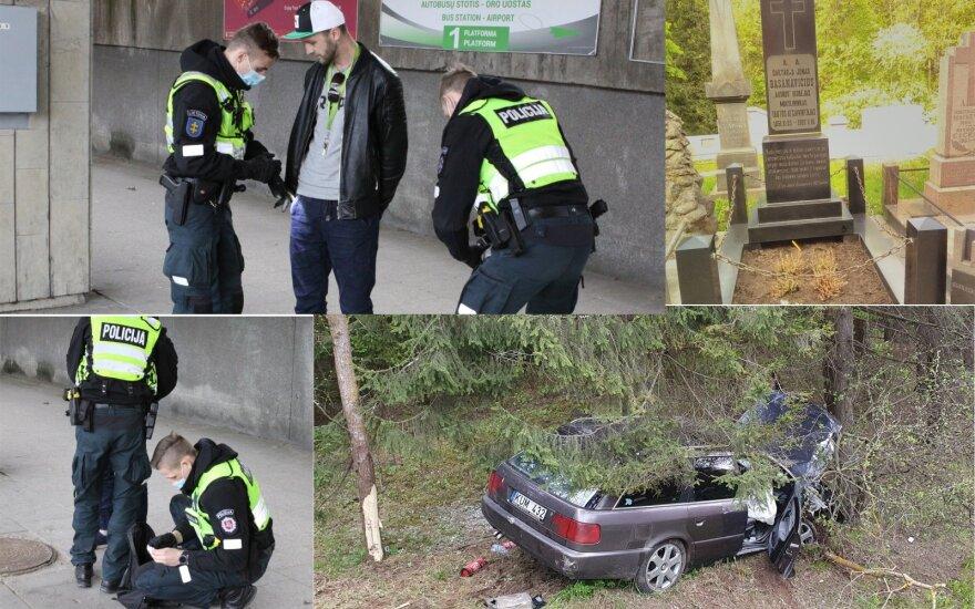 Diena su Vilniaus policijos patruliais: pirmas iškvietimas – išniekintas Basanavičiaus kapas