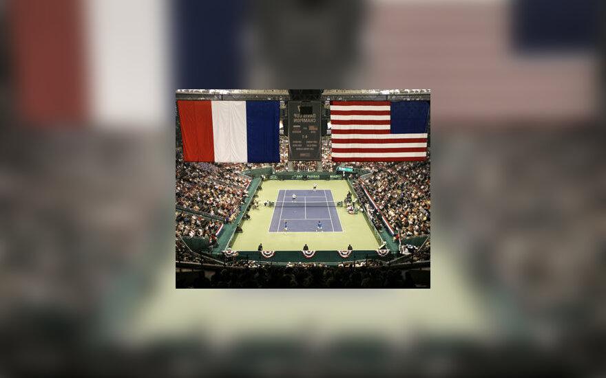 Teniso Davis Cup turnyro mačas JAV - Prancūzija