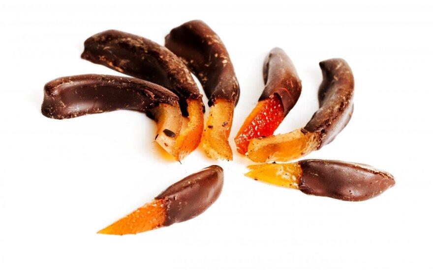 Apelsinų žievelių cukatai su šokoladu