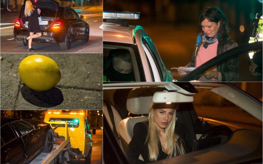 """Reido metu sustabdyta neblaivi vairuotoja pareiškė esanti """"perspektyvi mergina"""" ir į žurnalistus metė citriną"""