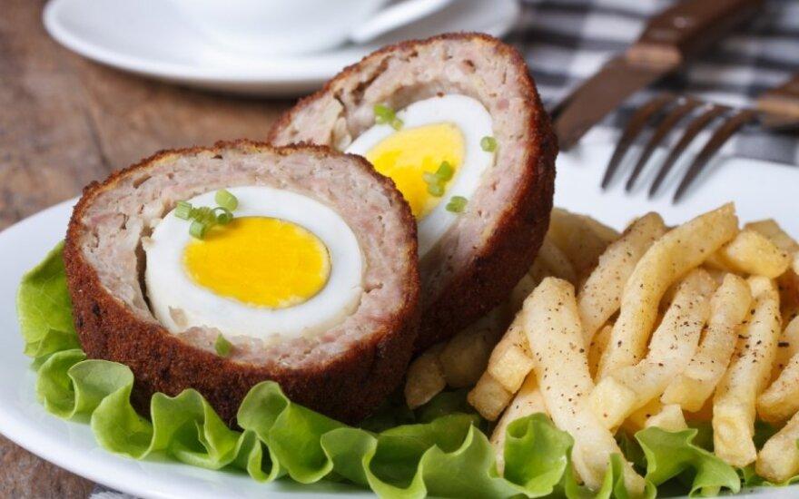 Traškūs mėsos kukuliai su kiaušiniu