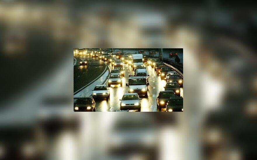 eismas, automobiliai, gatvė, vairavimas, naktinis miestas
