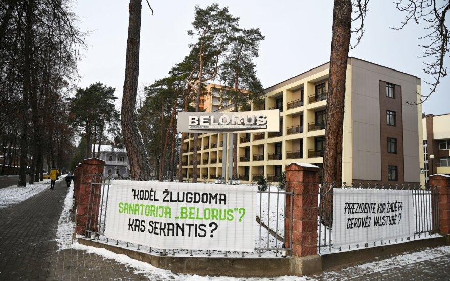 """Druskininkuose protestavo sanatorijos """"Belorus"""" darbuotojai"""