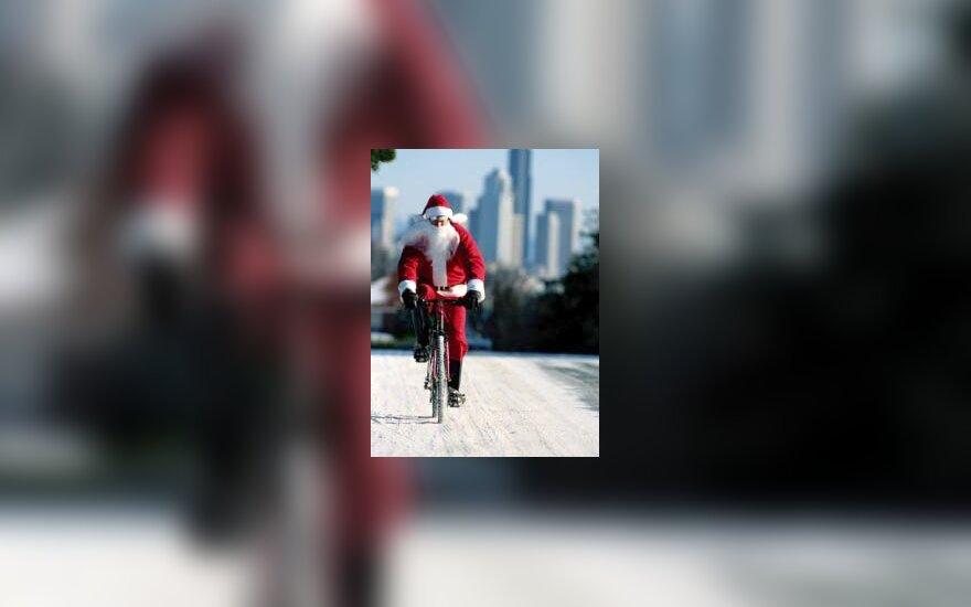 Santa Claus on bike