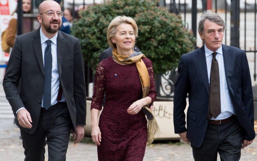 Charles Michel, Ursula von der Leyen, David Maria Sassoli, EP nuotr.