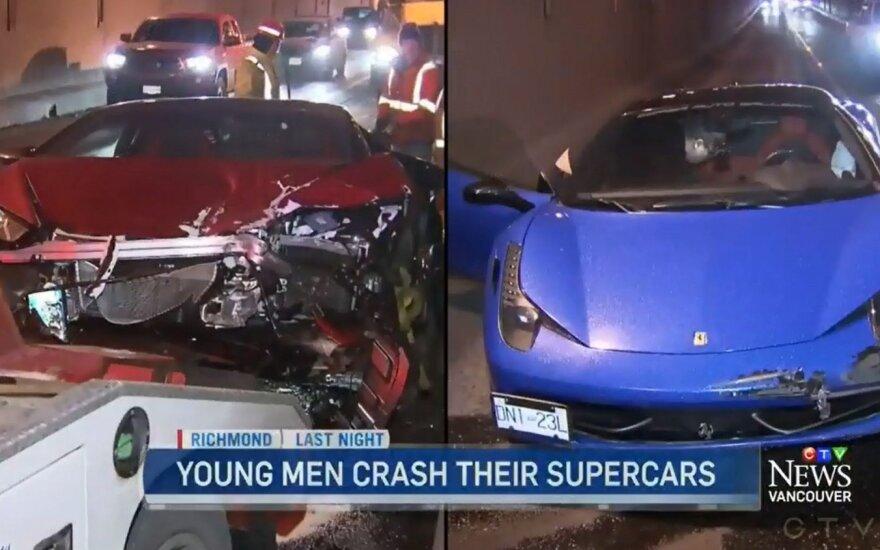 """Avarijoje sudaužyti """"Lamborghini Hurracan"""" ir """"Ferrari 458 Italia"""""""