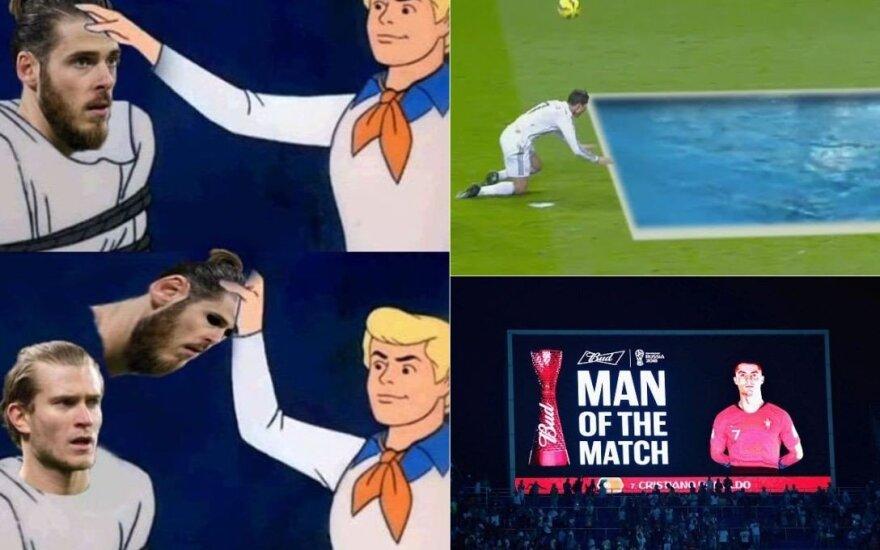Rekordininkui Ronaldo – kaltinimai vaidyba, kiauram De Geai – internautų pašaipos