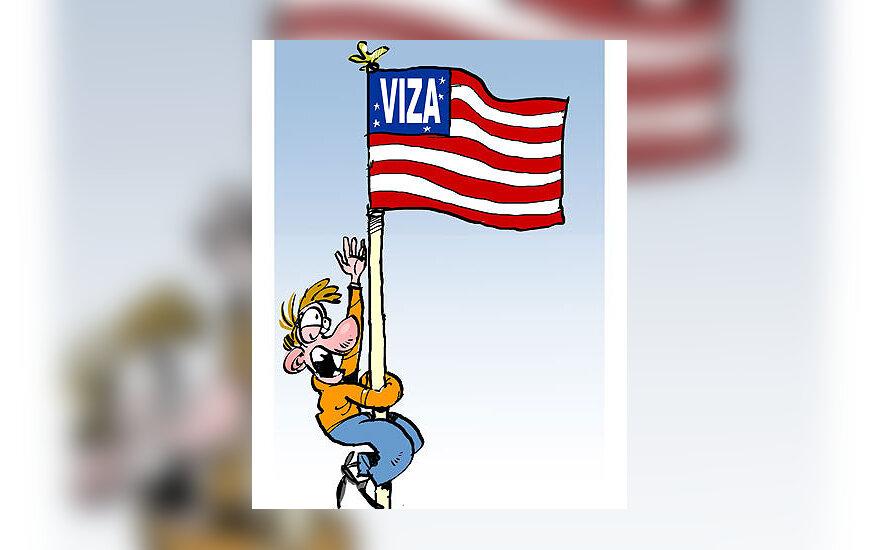 JAV viza - karikatūra