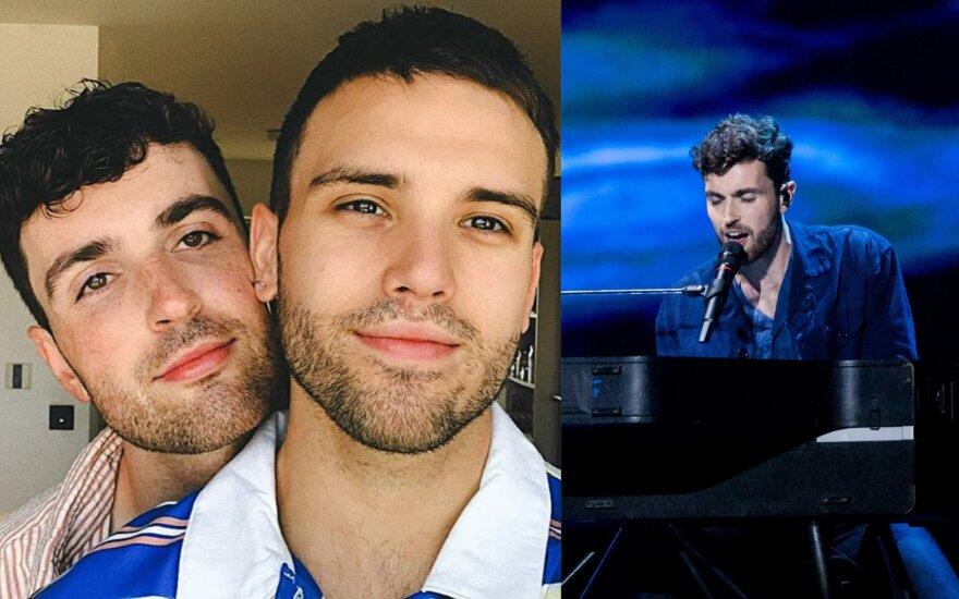 """""""Eurovizijos"""" nugalėtojas Duncanas Laurence'as paskelbė apie sužadėtinius su mylimuoju/ Foto: Delfi ir instagramo"""