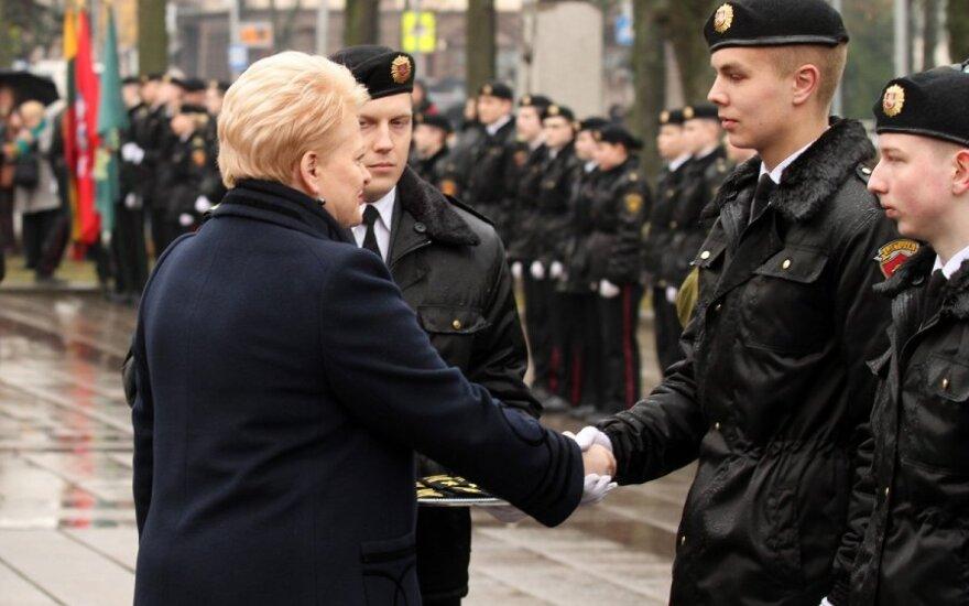 Dalia Grybauskaitė at the General P. Plechavičius school with cadets in Kaunas