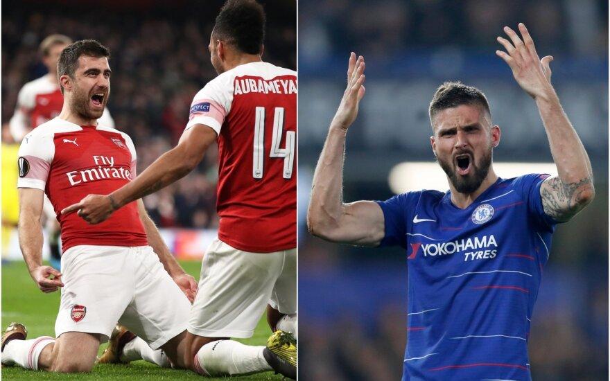 "Londono ""Arsenal"", Sokratis Papastathopoulos, ""Chelsea"",  Oliver Giroud"