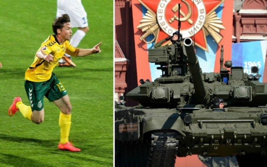 Saulius Mikoliūnas ir rusų tankas (DELFI ir AFP/Scanpix nuotr.)