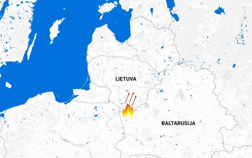 Iš Baltarusijos į Lietuvą artėjęs didelis miško gaisras lokalizuotas