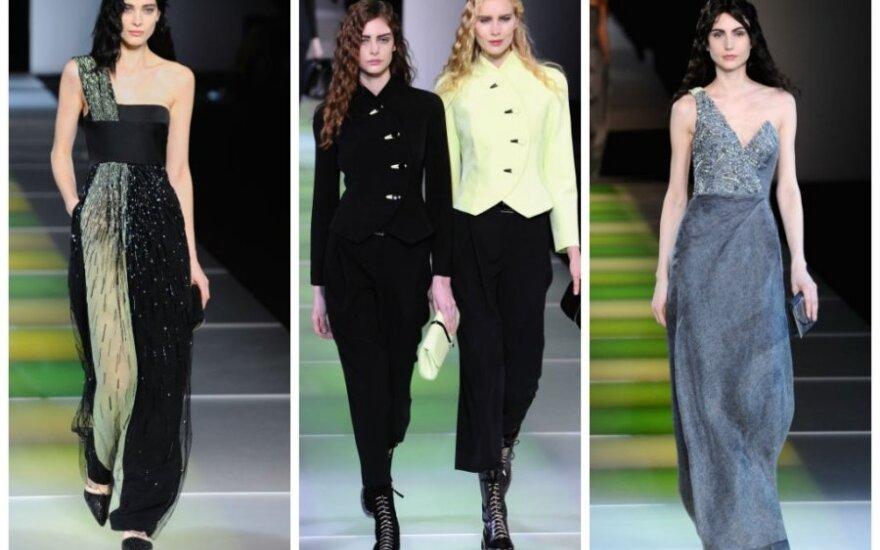 Milano mados savaitė: G. Armani jaunatviškoje rudens – žiemos kolekcijoje pilką spalvą derino su žalia