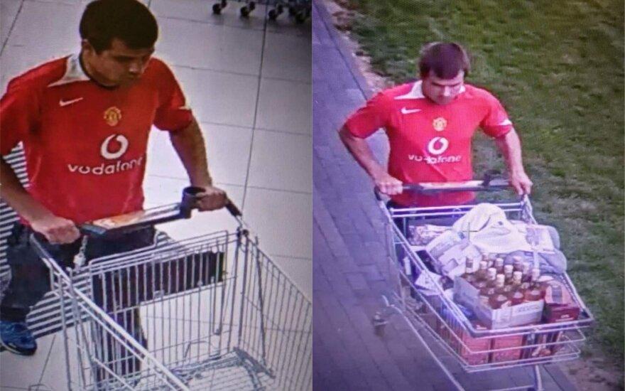Šiaulių policija ieško vyro, kuris pavogė pilną vežimėlį prekių