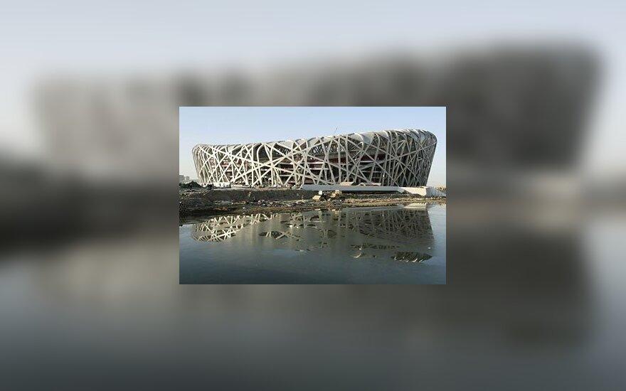 Olimpinis Pekino stadionas, dar vadinamas paukščių lizdu.