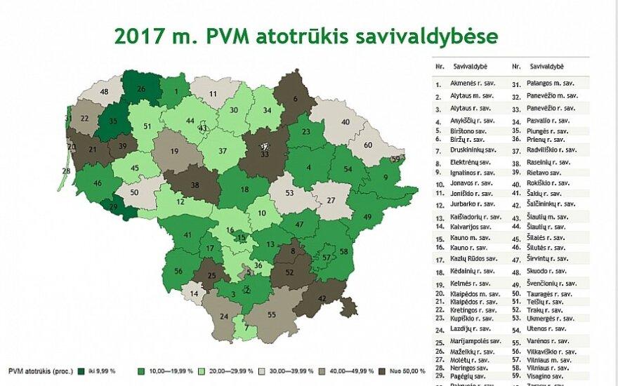 PVM atotrūkio žemėlapiai