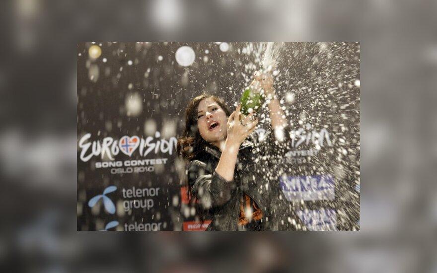"""""""Eurovizijos"""" nugalėtojos spaudos konferencija"""
