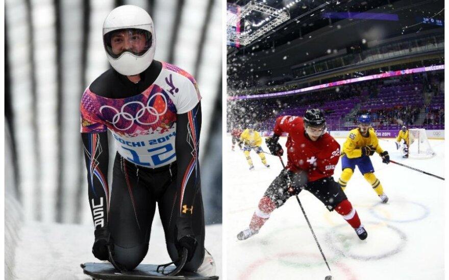 Šalies televizijoms įdomiau ne D. Rasimovičiūtės pasirodymas, o skeletonas ir švedų bei šveicarų ledo ritulio rungtynės (Reuters ir AFP nuotr.)