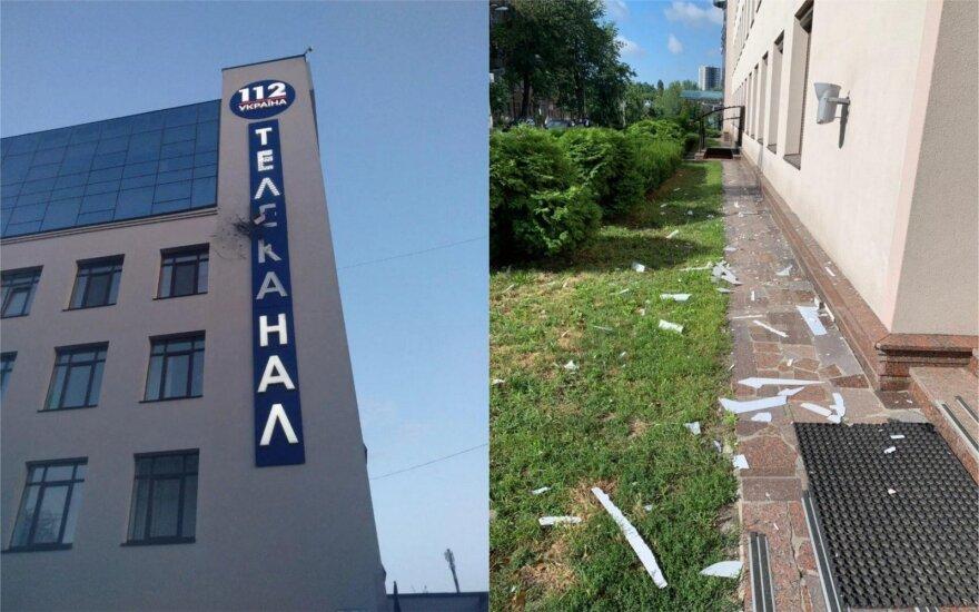 """Kijeve į televizijos """"112 Ukraina"""" pastatą iššautas raketinio granatsvaidžio sviedinys / 112.ua nuotr."""