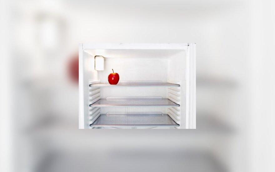 šaldytuvas, maistas, obuolys